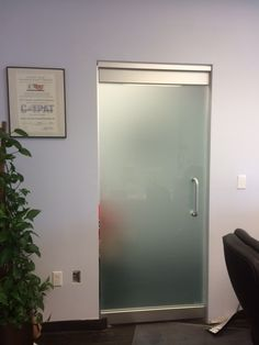 Acid Washed Office Herculite Doors by Glass Doctor of Miami
