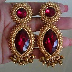 Diy Jewelry, Beaded Jewelry, Jewelery, Jewelry Design, Jewelry Making, Beaded Earrings Patterns, Bead Earrings, Embroidery Jewelry, Beaded Embroidery