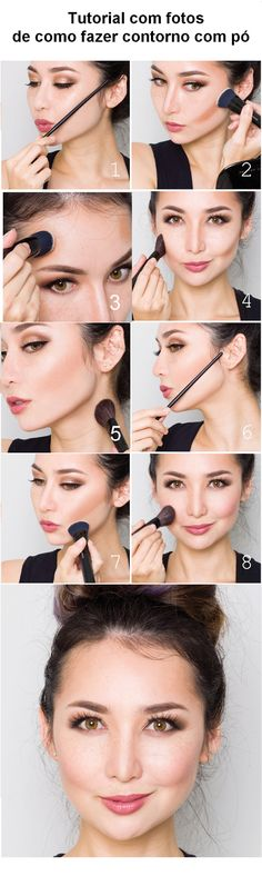 makeup tips, learn how to apply make-up and create make-up for parties, makeup . Make Up Contouring, Contour Makeup, Skin Makeup, Contouring Tutorial, Bronzer Tutorial, Body Makeup, How To Make Hair, Eye Make Up, Beauty Make-up