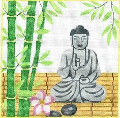 "Spiritual needlepoint - Buddha and Bamboo, hand-painted, 8"" x 8"" on 13 mesh canvas, made in Sedona, Arizona"