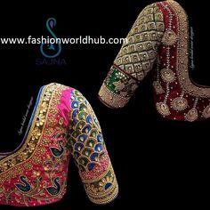 Mind blowing Maggam work blouse designs by Sajna bridal wear designer! Saree Jacket Designs, Wedding Saree Blouse Designs, Pattu Saree Blouse Designs, Wedding Blouses, Kids Blouse Designs, Hand Work Blouse Design, Maggam Work Designs, Sleeve Designs, Designer Wear