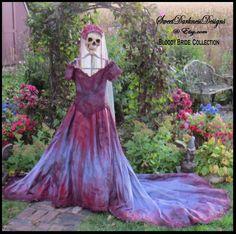Vampire Costume Bloody Bride Zombie Bride of Frankenstein Halloween Bride Burton Wedding Size 8 to 10 Gothic Bridal by SweetDarknessDesigns by SweetDarknessDesigns on Etsy