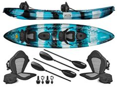Vibe-Kayaks-Skipjack-120T-12-Tandem-3-Person-Fishing-Kayak-Paddles-Blue-Camo