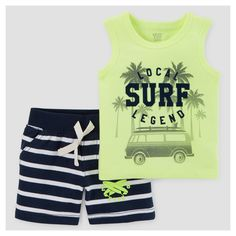 Just One You Made by Carter's Baby Boys' 2pc Surf/Stripe Tank Top Set - Lime 12M, Infant Boy's, Size: 12 M, Yellow