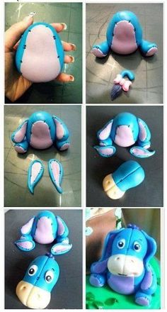 Eeyore -winnie the pooh DIY Clay Polymer Fimo Fondant Figurine Tutorial Eeyore clay project: step by step! Como hacer un Burrito Cute for fondant Eeyore how to Fondant Cake Toppers, Fondant Figures, Fondant Cakes, Winnie The Pooh Cake, Crea Fimo, Fondant Animals, Fondant Decorations, Polymer Clay Animals, Fondant Tutorial