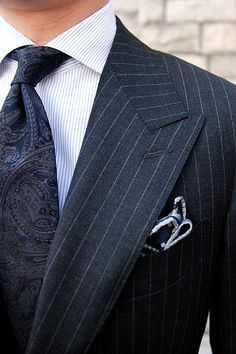 Charcoal Grey Peak Lapel, Dark Paisley Tie