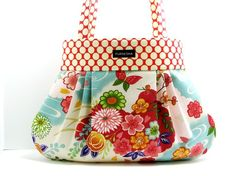 SAKURA DOTS 2- pleated handbag/ purse/ tote made with Amy Bulter Lotus dots n japanese import fabrics. Electronics - Computers & Accessories - handmade handbags & accessories - http://amzn.to/2ktogxC