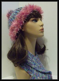 Crocheted  Fur look trimmed Beanie with matching scarf!!