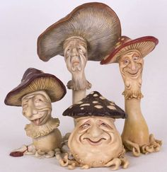 Mushroom characters from a forest world - frilly dress, gnarly faces, large hats, size and shape ~~ Marij Rahder 7