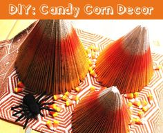 DIY Halloween Candy Corn Decor at we heart this!