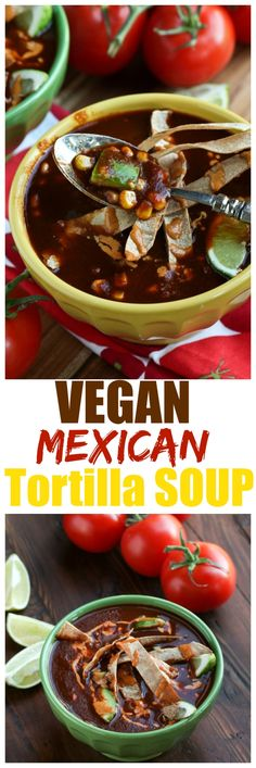 Vegan Mexican Tortilla Soup. This amazing vegan version is dairy-free, oil-free and a rich enchilada flavored broth. Dried ancho chile peppers and tomatoes.