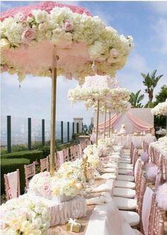 Mariage bicolore : rose et blanc 2