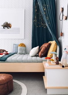 Loving the style of this bedroom! Bright and full of fun, modern scandi vibe. Numero74 products in here: Teal Blue Canopy, Teal Blue Summer Blanket (on the bed).
