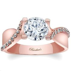 Barkev's 14K Rose Gold Diamond Twist Engagement Ring Featuring 0.17 Carats White Round Diamonds. Style 7725L