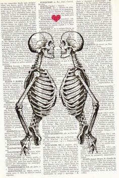 Wall art Skeleton Couple Love art gift husband gift by PRRINT Skeleton Love, Skeleton Art, Art Amour, Human Anatomy Art, Skull Art, Couple Gifts, Love Art, Wall Art Decor, Art Drawings