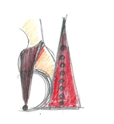 Heel Jewel Shoe drawing by Alessia Semeraro / 80s Design inspiration //