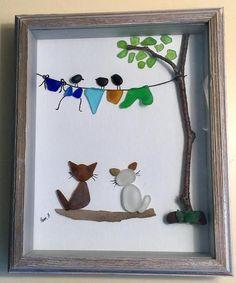 Sea Glass Art Dog Lovers Gift Framed Artwork