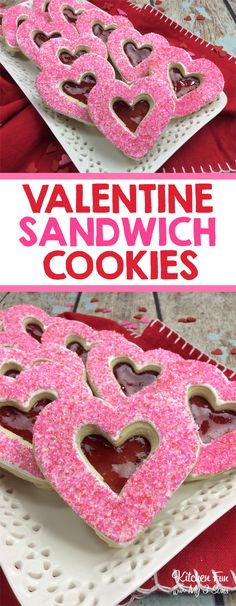 Valentine Sandwich Cookies filled with yummy strawberry jelly.  Fun Valentine's Day cookie recipe treat. #valentinesday