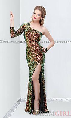 One Shoulder Sequin Covered Long Dress at PromGirl.com