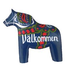 Blue Wooden Dalarna Horse Welcome Sign