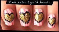 As unhas de meu mundo: Pink Zebra & Gold Hearts nail art