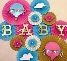 Hot Air Balloon Themed Paper Rosettes Set of 13 fans by LanvisB Baby Shower Balloons, Baby Shower Parties, Paper Rosettes, Paper Pinwheels, Paper Fans, Giant Paper Flowers, Diy Party Decorations, Balloon Decorations, Baby Decor