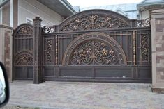 34 ideas main door ideas design wrought iron for 2019 House Main Gates Design, Front Gate Design, Door Gate Design, Main Door Design, Fence Design, Metal Gates, Wrought Iron Gates, Front Gates, Entrance Gates