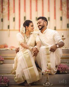 Couple Wedding Dress, Indian Wedding Couple, Wedding Couples, Married Couples, Kerala Wedding Photography, Wedding Couple Poses Photography, South Indian Weddings, South Indian Bride, Indian Bridal