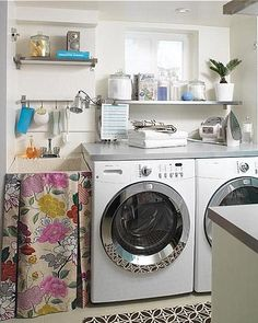 Curtain on laundry sink