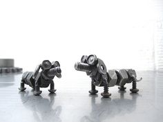 metal art from nuts and bolts | Nuts and bolts wiener dogs, Capone and Lexie by Brown Dog Welding , on ...