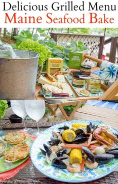 Our Maine Shore Seafood Bake at the camp. How to throw a gourmet seafood bake + delicious menu + grilling tips.