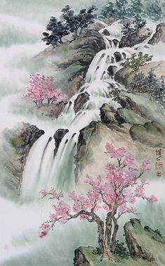 Chinese waterfall and mountain landscapes painted by internationally renowned YouTube artist Virginia Lloyd-Davies.
