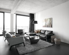 Sectional Sleeper Sofas with Chaise to Adorn Your Family Room : Exciting Leather Sectional Sleeper Sofas With Chaise And Dark Gray Curtain With Gray Furry Area Rug