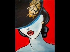 Pop art Girl with a Hat Fashion Acrylic Painting tutorial for Beginners - YouTube
