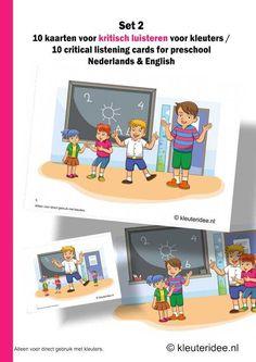 Kritisch luisteren voor kleuters10 kaarten set 2, kleuteridee.nl, critical listening preschool 10 cards for preschool, Dutch and English ver...