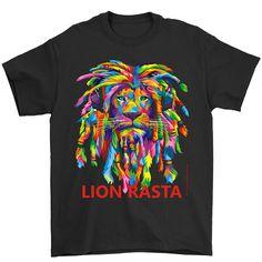 Rasta Lion Dreadlocks Black Adult Man T Shirt Rasta Lion Art