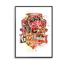 Gryffindor Crest Poster Harry Potter house by InstantGoodVibes