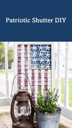 Diy Shutters, Plastic Shutters, Porch Decorating, Summer Decorating, Decorating Ideas, Composite Siding, 4th July Crafts, American Flag Decor, Friend Crafts