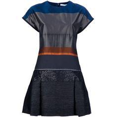VICTORIA BECKHAM Drop Waist T-Shirt Dress (3.390 BRL) ❤ liked on Polyvore featuring dresses, vestidos, short dresses, tee shirt dress, striped mini dress, silk dress, cap sleeve dress and blue silk dress