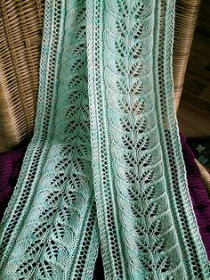 Column of Leaves Lace Scarf Free Knitting Pattern and more lacy scarf knitting patterns