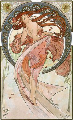 畫 名 : 藝術 - 舞蹈 The Arts - Dance 作 者 : 慕夏 Alphonse Mucha 年 份 : 1898 年