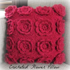 Crocheted Flower Pillow by Just Crafty Enough