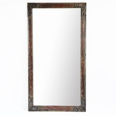 Vintage architectural full length mirror frame.  Carved floral corners with aged green and turquoise paint.