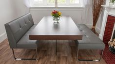 Genoa Soft Grey Dining Bench with Backrest £603.00