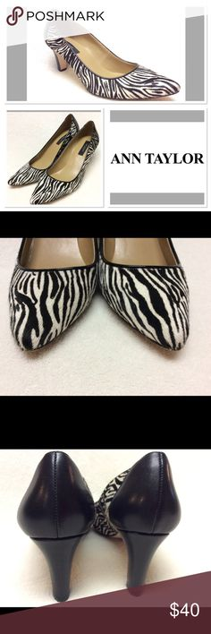 ANN TAYLOR calf hair and leather pumps Ann Taylor Brazilian calf hair and leather pumps featuring zebra print and heel. Super stylish and EUC! Leather Pumps, Zebra Print, Fashion Tips, Fashion Design, Fashion Trends, Ann Taylor, Kitten Heels, Shoes Heels, Stylish
