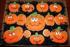 Decorated Pumpkin Cookies, Halloween pumpkins, Halloween cookie favors, custom…