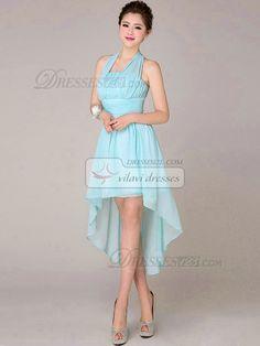 A-line Halter High Low Asymmetrical Chiffon Light Sky Blue Tiered Bridesmaid Dresses [51BDCH6110] - US $99.99