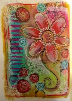 Tracy Scott - playing with the fabulous Dylusions paints.