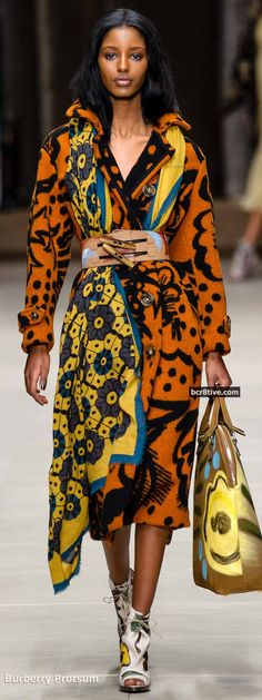 Love the way this large scarf is used with this belted coat.  Burberry Prorsum Fall 2014