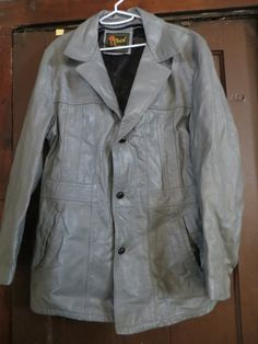 1970 mens grey leather jacket coat by Reed by Linsvintageboutique